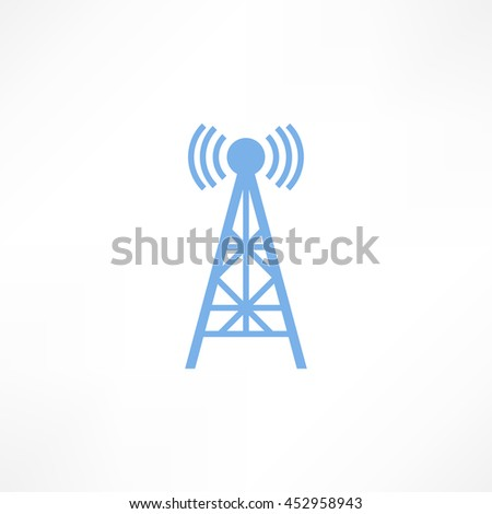 Raster illustration radio antenna wireless. Technology and network signal radio antenna. Wave tower radio antenna. Telecommunications radio antenna tower or mobile phone base station with engineers - stock photo