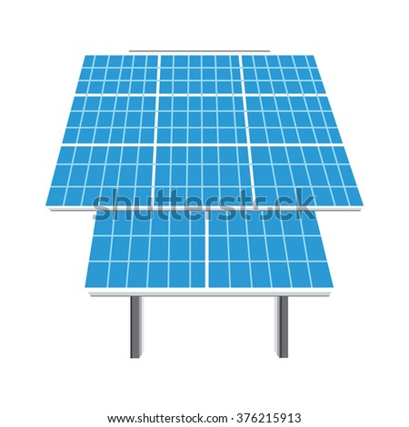 Raster illustration solar panel icon. Photovoltaic electric solar panel. Renewable energy. Ecology energy - stock photo