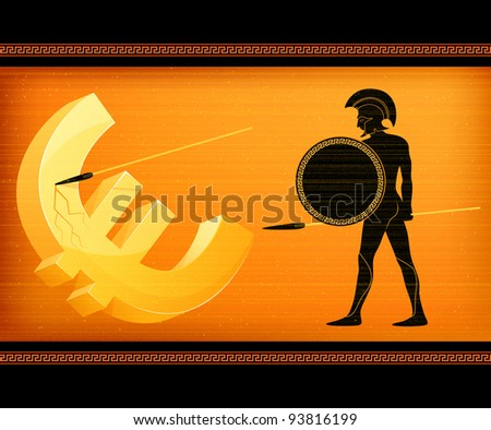 raster illustration symbolizing economical crisis in the European Union and Greek threat to stability of Euro currency - stock photo