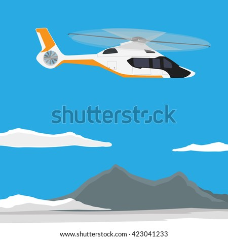 Raster illustration white, luxury, realistic helicopter flying in the blue sky with mountain landscape - stock photo