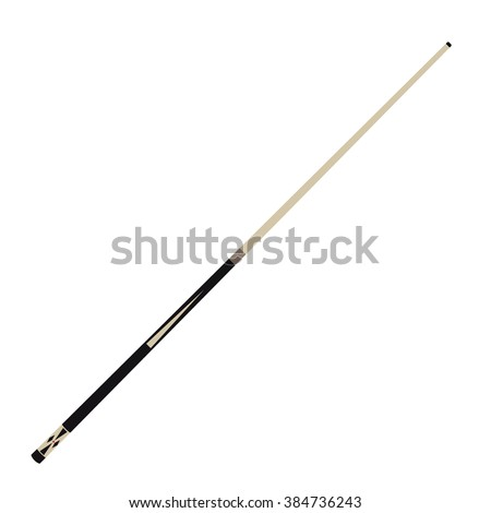 Raster illustration wooden billiard cue isolated on white background. Pool stick - stock photo