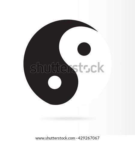 Raster illustration ying yang symbol of harmony and balance. Ying yang icon - stock photo