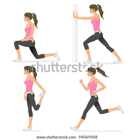 raster illustrations of basic stretching exercises related to jogging performed by a beautiful brunette - stock photo