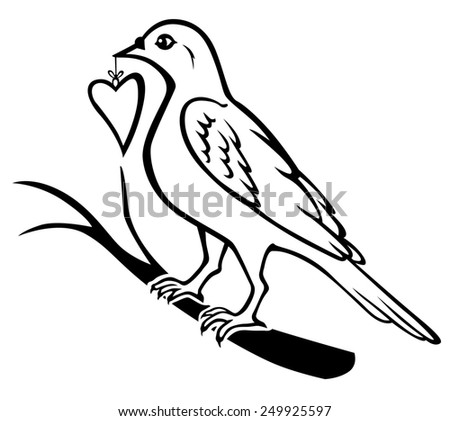 Raster illustrations of contour of birds sitting on a branch and holding in the beak gift heart - stock photo