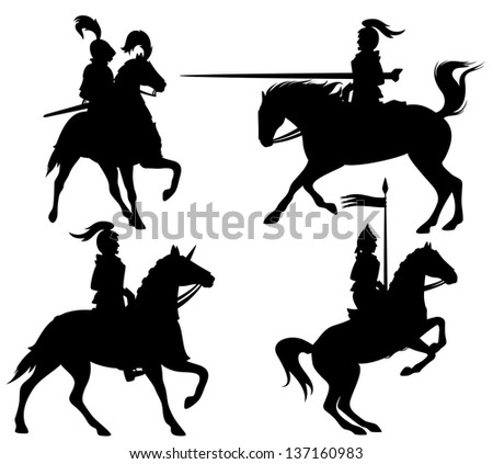 raster - knights and horses fine silhouettes - black outlines over white (vector version is available in my portfolio) - stock photo