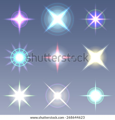 Raster lens flares Set collection 5 - stock photo