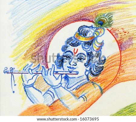 raster Lord Krishna - stock photo