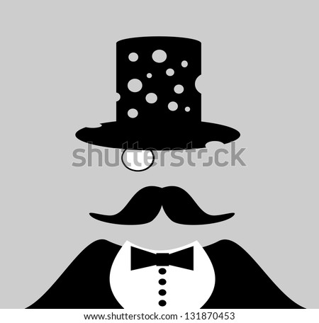 raster man wearing top hat with bullet holes - stock photo