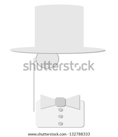 raster man with bow tie and monocle - stock photo