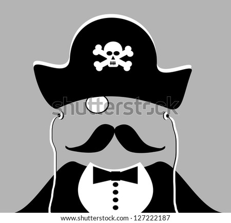 raster man with pirate hat and monocle - stock photo