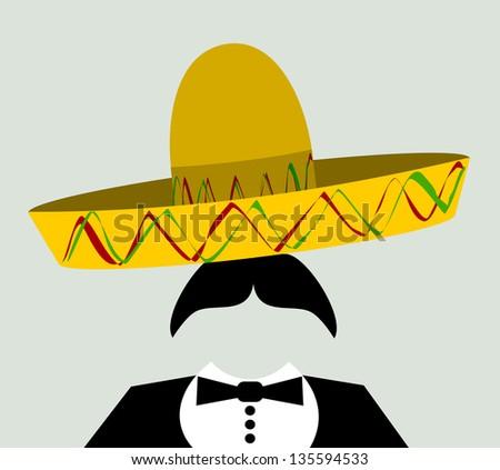raster man with tuxedo and sombrero - stock photo