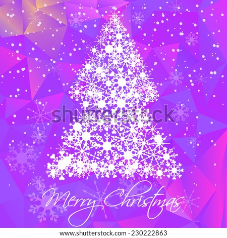 raster merry Christmas and Happy new year card with Christmas tree, snowflakes and purple polygon background - stock photo