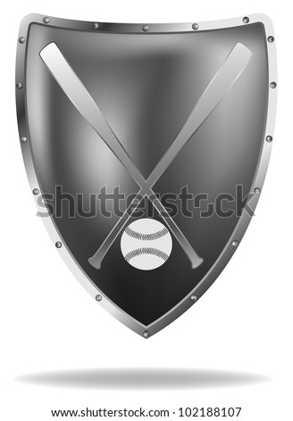 raster metal shield with baseball bats and ball, eps8 file, gradient mesh used, vector version available - stock photo