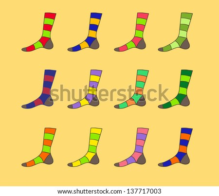 Raster multicolored striped sock set illustration - stock photo
