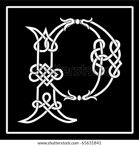 Raster of a Celtic Knot-work Capital Letter P - stock photo