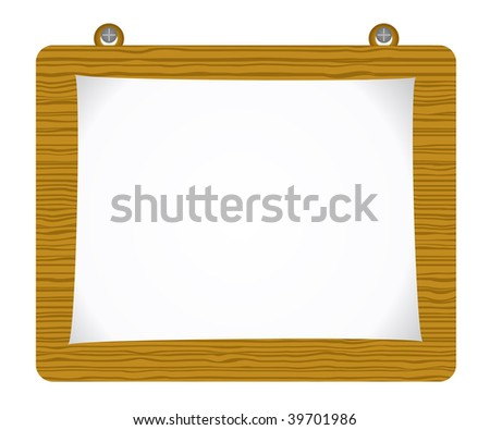 Raster paper attach to old wooden background - stock photo