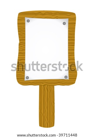 Raster paper attach to old wooden billboard - stock photo