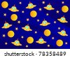 Raster picture with ufo, planets and stars in the universe - stock photo