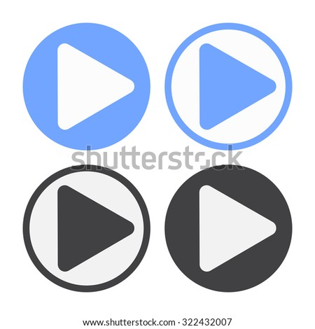 raster play icon set. black and blue symbol on a white background - stock photo