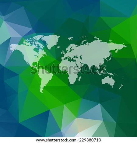 Raster polygon world map background. Can be used as website background or for presintation - stock photo