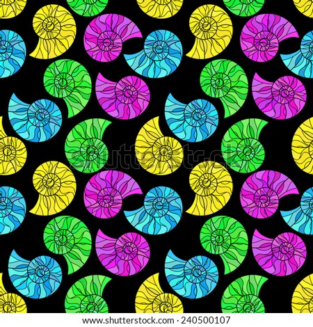 Raster  Raster Seamless abstract hand-drawn ornament pattern with colorful snails. Seamless pattern can be used for wallpaper, pattern fills, web page background, surface textures.  - stock photo