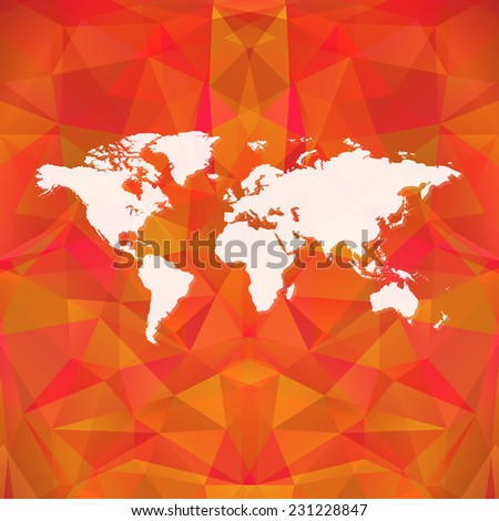 Raster red polygon world map background. Can be used as website background or for presintation - stock photo