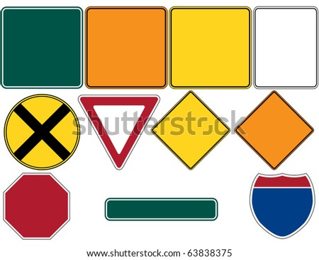 Raster Road Signs Set 1 - stock photo