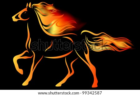 raster - running horse outline among fire flames against black background (vector version is available in my portfolio) - stock photo