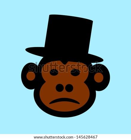 raster sad monkey with top hat on - stock photo