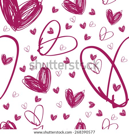 Raster seamless hand drawn pink heart texture on white background, textile or packing paper, background for landing page or site, greetings card, doodle, sketch, JPG - stock photo