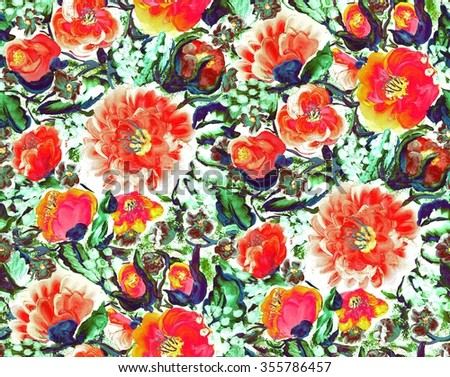 Raster seamless pattern with roses, violets, poppies, lilies of the valley and fantasy flowers. Gouache decorative painting. Hand drawn floral ornament on white background. - stock photo