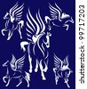 raster - set of beautiful winged horses - white pegasus against blue  (vector version is available in my portfolio) - stock photo