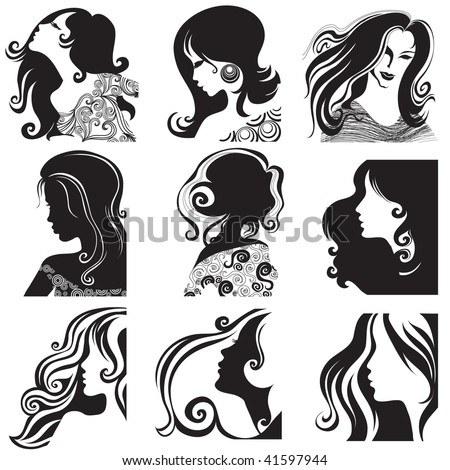 "RASTER set of closeup silhouette portrait of beautiful woman with long hair (From my big ""Vintage woman collection "") - stock photo"