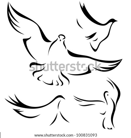 raster - set of flying doves - black outlines over white (vector version is available in my portfolio) - stock photo