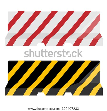 raster set of two striped road barrier red, white and yellow, black. Traffic barrier. Road block - stock photo
