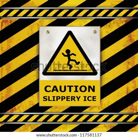 raster Sign caution blackboard caution slippery ice - stock photo