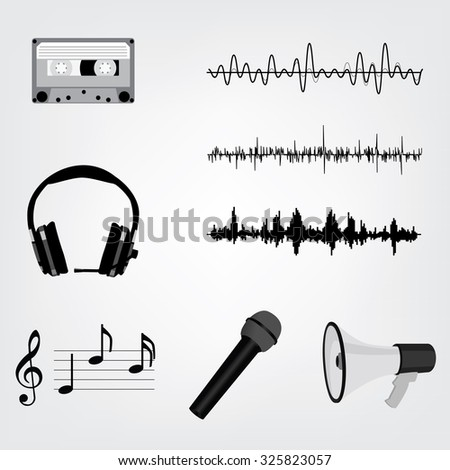 raster Sound Waveforms. Sound waves and musical pulse icons. Cassette tape, microphone, loudspeaker, musical notes and headphone - stock photo