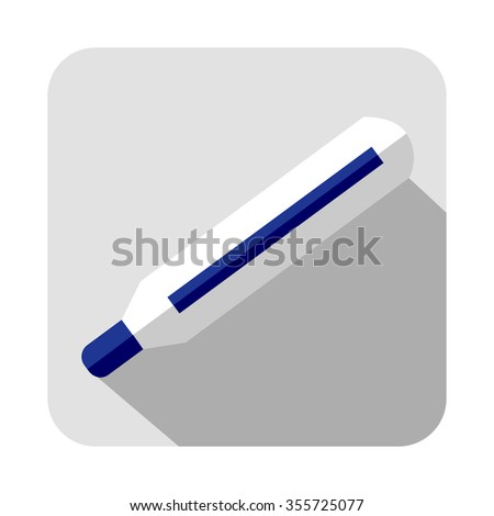 Raster square icon of thermometer, isolated on the white background - stock photo