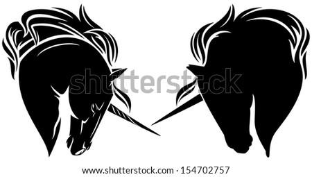 Black Unicorns mc Raster Unicorn Head Black