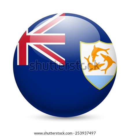 Raster version. A round badge in the colours of Anguilla flag.  - stock photo