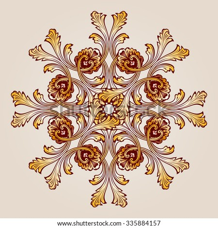 Raster version. Abstract floral pattern element in the form of ornate flower with eight petals - stock photo