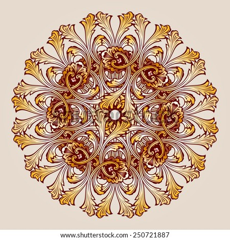 Raster version. Abstract floral pattern element in the form of round flower  - stock photo