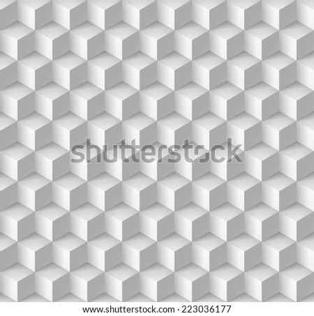 Raster version. Abstract geometric background with cubes in white  - stock photo