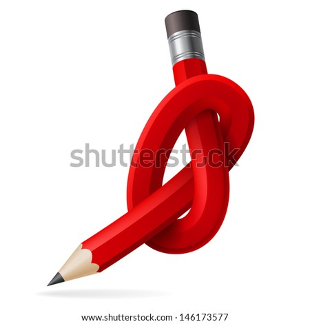 Raster version. Abstract node of pencil. Illustration for design - stock photo