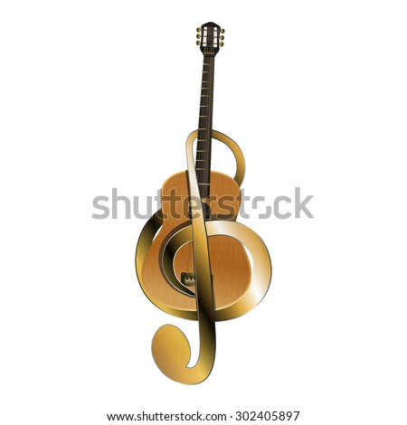 Raster version acoustic guitar belted a golden treble clef of the material, isolated object - stock photo