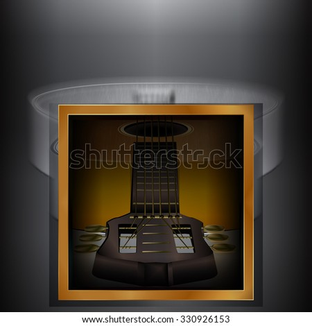 raster version acoustic guitar on a blurred monochrome background with a gold frame.It can be used as a poster, advertising or separately as an object. - stock photo
