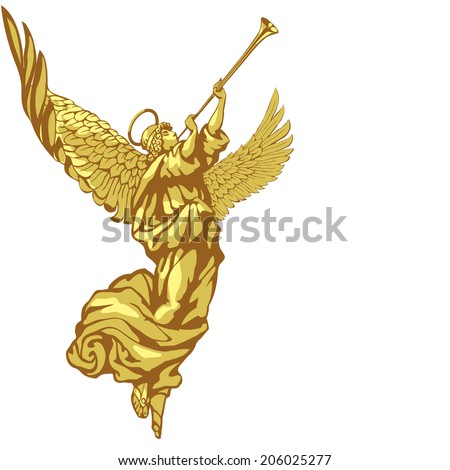 Raster version / Angel with trumpet in three colors on white background - stock photo