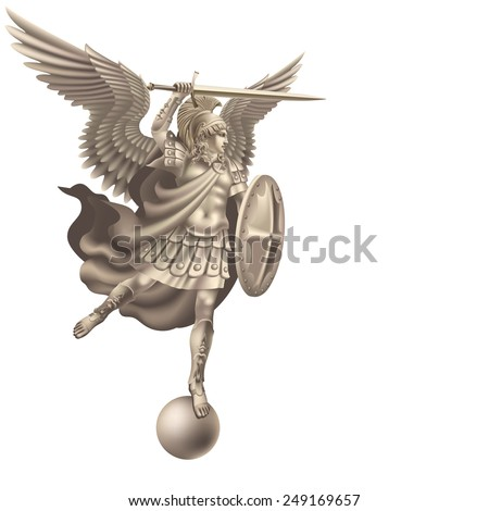 Raster version / Attacking angel with a sword on a white background - stock photo