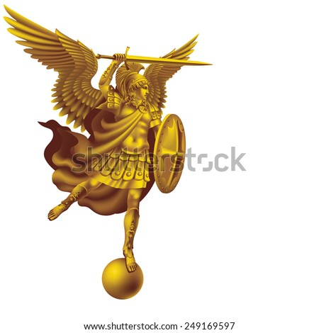 Raster version / Attacking golden angel with a sword on a white background - stock photo