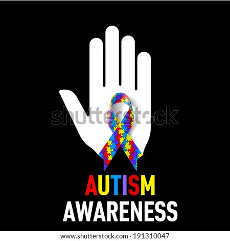 Raster version. Autism Awareness  sign.  White hand with puzzle ribbon on black background - stock photo